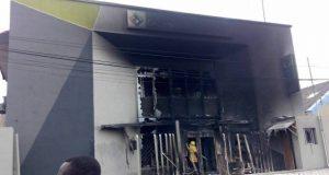 Diamond Bank building Apapa burnt by the mob
