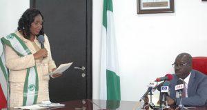 Gov. Obaseki, listening to Dr. Anthonia Inibokun Njoku, President of Medical Women's Association of Nigeria (MWAN), Edo State Chapter, during a courtesy visit to Government House, Benin City