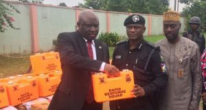 Permanent Secretary, Lagos Office of Chief Staff, Mr Oluseyi Whenu, Commander, Rapid Response Squad, ACP Olatunji Disu, Executive Secretary, Lagos State Security Trust Fund, Dr. Abdulrasaq Balogun with the First Aid boxes
