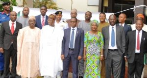 Minister of Information and Culture, Alhaji Lai Mohammed, in a group photograph with participants of the Capacity Building Workshop for Strategic Communication Liaison Officers in Abuja on Wednesday