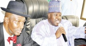 National-Chairman-PDP-Senator-Ali-Modu-Sheriff-Deputy-National-Chairman-ss-Dr.-Cairo-Ojougboh-during-a-media-briefing-in-Abuja