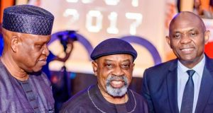 Chairman, Transcorp Hotels Plc Olorogun O'tega Emerhor, Senator Chris Ngige and Elumelu at the 30th Anniversary Celebration of award-winning Transcorp Hilton Abuja