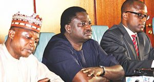 Presidential Media Aides, L-R: Garba Shehu, Femi Adesina and Laolu Akande