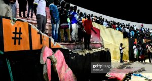 Collapsed part of Stade de Mbour