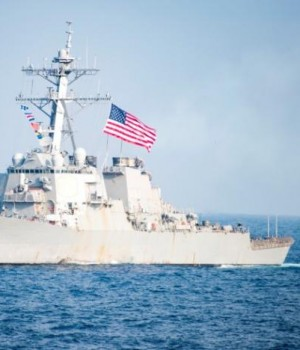 US Navy destroyer USS Stethem transits waters east of the Korean peninsula