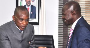 AMCON boss, Ahmed Kuru and Ibrahim Magu of EFCC
