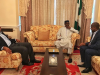 Buhari receives Saraki an Dogara in London