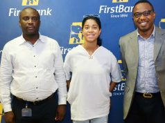 L-R: Nathaniel George, Business Manager, Adeola Hopewell Branch, FirstBank; Zuriel Oduwole, Girl Education Advocate and World's Youngest Filmmaker; and Ismail Omamegbe, Head, Corporate Responsibility and Sustainability, FirstBank at the Zuriel Oduwole Film Class Initiative Supported by FirstBank.