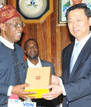 Lai Mohammed and Chinese Vice Minister of The State Council Information Office, Guo Weimin