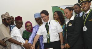 Gov. Nazir el-Rufai leading the State Exco to the inaugural flight of Ethiopian Airlines from Kaduna Airport