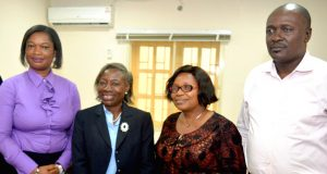 From left:Senior Marketing Officer, NAN, Mrs Tolu Ajibade; representative of the Managing Director of NAN, Mrs Kate Popoola; Deputy Director of Marketing, Mrs Meg Iroha; and President of the Guild of Corporate Online Publishers, Mr Dotun Oladipo, at a meeting NAN has with Guild of Corporate Online Publishers in Lagos on Monday