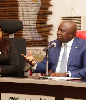 Toyosi Akerele-Ogunsiji, immediate past Vice President of the Harvard Business School and Gov. Ambode