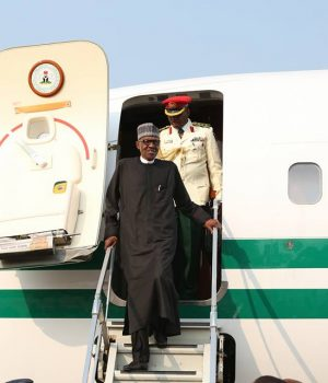 President Muhammadu Buhari arrives from London