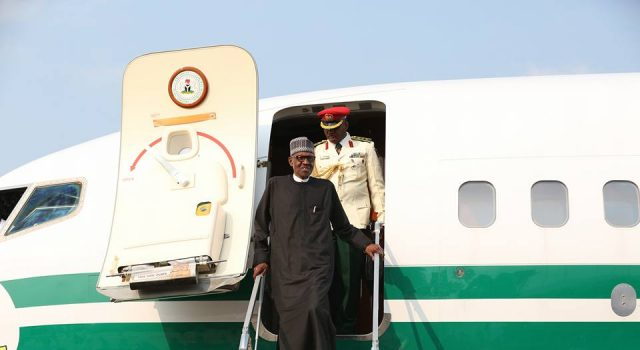 President Muhammadu Buhari arrives from London