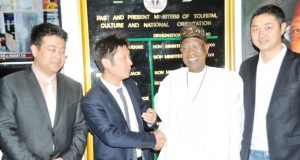 Lai Mohammed (second right), with the Chief Executive Officer of Huaxia Movie Distribution Group of China, Mr. Wei Bian (second left); the Director, Production and Distribution of Star Times, Tony Kao (first left) and Chief Executive Officer, Star Times, Justin Zhang (first right