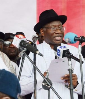 Goodluck Jonathan addressing PDP Special Convention in Abuja