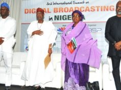 BSP Media International CEO, Benjamin Olusegun Pius; Minister of Information and Culture, Alhaji Lai Mohammed; Vice-Chairman, Broadcasting Organisations of Nigeria (BON), Hajia Sa'a Ibrahim and Chief Executive, MultiChoice Nigeria, Mr. John Ugbe at the 3rd BON International Summit on Digital Broadcasting in Nigeria...in Lagos on Tuesday