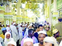 Pilgrims leaving Madina for Makkah