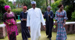 President Buhari with the media team in London