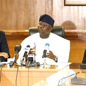 Wale Oluwo, Commissioner for Energy, Gov. Ambode and Dafe Akpeneye of NERC