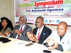 L-R: Junior Associate, Scaling Up Nutrition Business Network, Nigeria, Miss Ibiso Ivy King-Harry; Chairman of Occasion, Board of Trustee Member Media Centre Against Child Malnutrition (MeCAM)/Past President Nutrition Society of Nigeria, Prof. Babatunde Oguntona; National Coordinator, MeCAM, Mr. Remmy Nweke and Board Member MeCAM, Dr. Aminu Magashi Garba, during the One Day Nutrition Symposium on Malnutrition, Child Development and the Media