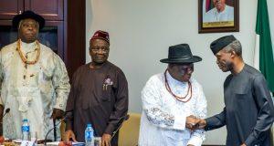 Osinbajo and PANDEF leaders at a meeting in Abuja