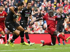 Sadio Mane of Liverpool scores his sides first goal during the Premier League match against Crystal Palace