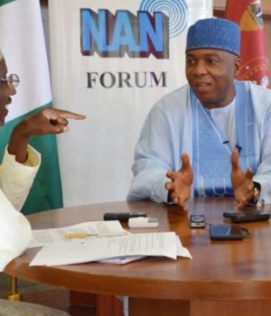 Saraki speaks at NAN Forum