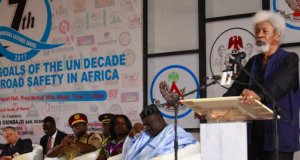 Pioneer FRSC boss, Prof. Wole Soyinka delivering his address