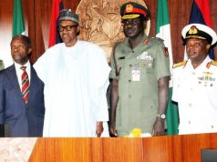 President Buhari with Vice President Yemi Osinbajo and other Service Chiefs after Security Council meeting