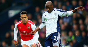 Alexis Sanchez in play against West Bromwich Albion