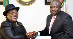 Outgoing Chief Judge of Lagos State, Justice Olufunmilayo Atilade and Gov. Ambode