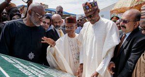 President Muhammadu Buhari at the commissioning of the OLAM feed mill in Kaduna