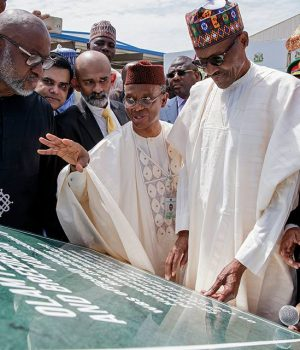 President Muhammadu Buhari at the commissioning of the OLAM feed mill in Kaduna