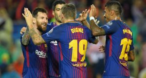 Messi and mates celebrate victory over Olympiakos