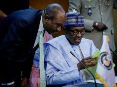 President Buhari and Emefiele at ECOWAS Single Currency summit