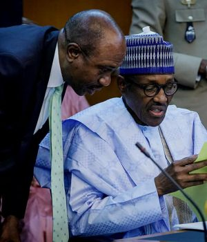 President Buhari and Emefiele at ECOWAS Single Currency summit