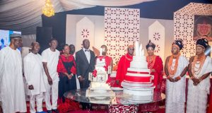 Jeremiah Useni (rtd.); former Governor of Edo State, Comrade Adams Oshiomhole; Deputy Governor, Philip Shaibu; Wife of the Governor, Betsy Obaseki; Governor of Edo State, Mr. Godwin Obaseki; Oba of Benin, Omo N' Oba N' Edo Uku Akpolokpolo, Oba Ewaure II; and the Oba's wives at the One Year Coronation Anniversary of Oba Ewuare II, in Benin City