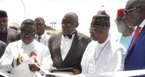 Cross River State Governor, Senator Ben Ayade (left); Minister of Information and Culture, Alhaji Lai Mohammed (middle) and the Group Managing Director of Gospell Digital Technology Electronics Manufacturing and Assembly Company, Sir Godfrey Ohuabunwa, at the commissioning of the production plant of the company in Calabar on Thursday.
