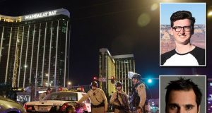 Jon Moses, and bottom right, Nathan Judah, were among holidaymakers who fled the scene after the shooting near the Mandalay Bay Hotel in Las Vegas