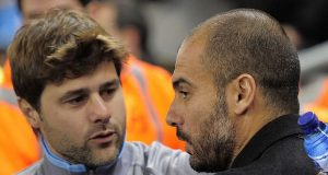 Spurs Mauricio Pochettino and Pep Guardiola of City