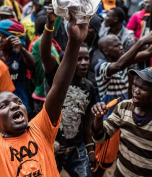 Raila Odinga's supporters protesting against the rerun poll