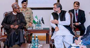 President Buhari and Pakistani Prime Minister Shahid Khakan Abbasi,