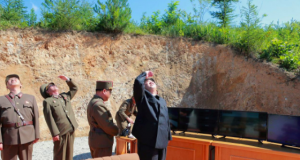 Kim Jong Un looks on during the test-launch of the intercontinental ballistic missile Hwasong-14