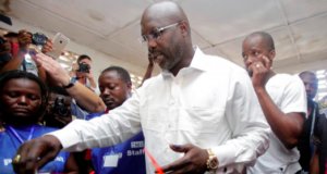 George Weah casts his vote