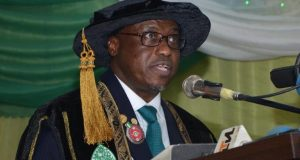 NNPC GMD Dr. Maikanti Baru, delivering lecture at ABU convocation