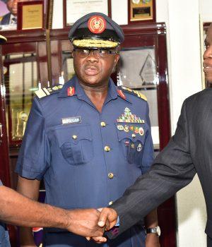 Nigerian Ai Force officials with FUTA VC, Prof. Joseph Fuwape FUTA