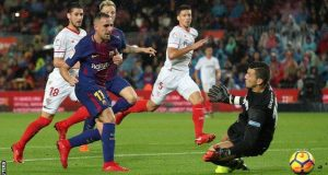 Alcacer puts two behind Sevilla goal keeper