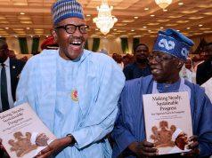 Buhari and Tinubu at the book presentation