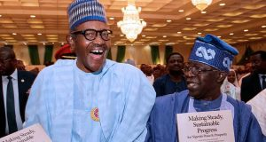 Buhari and Tinubu at the book presentation